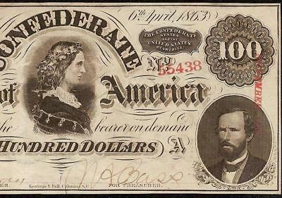 Au 1863 $100 Dollar Confederate States Currency Civil War Note Paper Money T-56