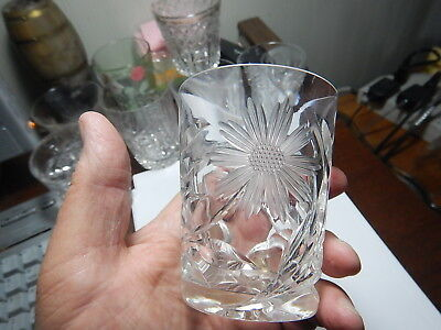 American Brilliant Cut Glass tumbler floral pattern  old estate collection