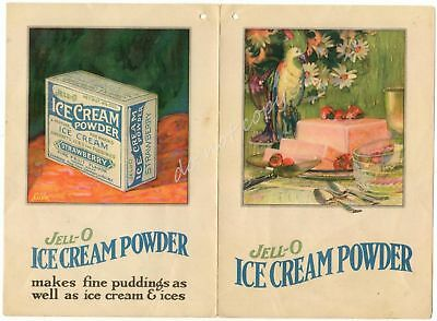 Jell-O Ice Cream Powder Vintage Advertising Folder LeRoy NY Bridgeburg ONT Jello