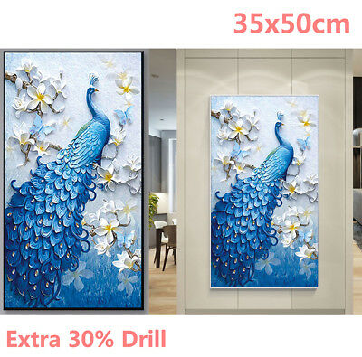 AU Peacock Large Vertical 5D Diamond Painting Embroidery Cross Stitch Gifts WZ