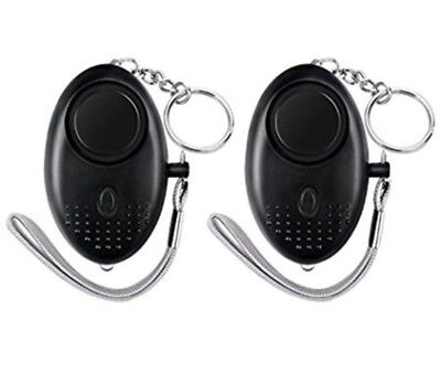 2 Black 130dB Safe Sound Personal Protect Alarm Keychain Self-defense
