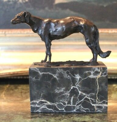 Russian Wolfhound Borzoi Bronze Marble Statue Dog Bookend Sculpture Artwork Gift