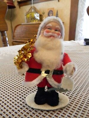 Vintage Santa Holding Tree & Christmas Stocking - JAPAN!