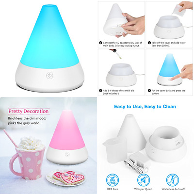 180Ml Aromatherapy Essential Oil Diffuser Whisper Quiet Cool Mist Humidifier Ult