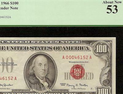 1966 $100 Dollar Bill United States Currency Legal Tender Red Seal Note Pcgs 53