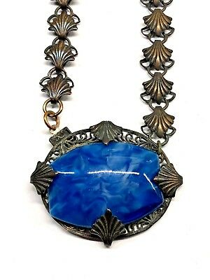 Art Deco Blue Lapis Marbled Cabochon Brass Filigree Necklace