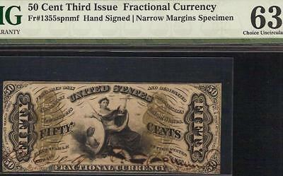 Unc 50 Cent Hand Signed Justice Specimen Note Fractional Currency Csa Paper Pmg