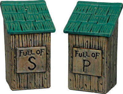 "OUTHOUSE ""Full of..."" SALT & and PEPPER SHAKER Set Ceramic Country Cabin Decor"