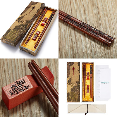 Chopsticks Reusable Chinese Style Dragon & Phoenix W Holder Carrying Bag Gift Se