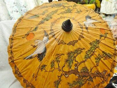 lovely japanese parasol birds papier mache and bamboo -holiday- panto unused