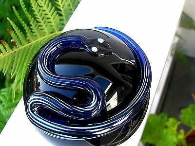 """SALE!  CORREIA BLUE/SILVER STRIPED SNAKE PAPERWEIGHT: 3"""", Signed, Numbered,1986"""