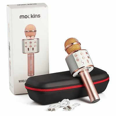 KARAOKE Wireless MICROPHONE Compatible Bluetooth Android IOS Apple, Rose Gold