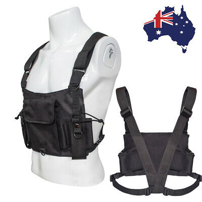 Tactical Chest Rig Bag Front Harness Pouch Pocket Walkie Talkie Holster Holder