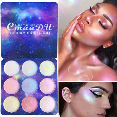 9 Colors Eye Shadow Contour Highlighter Palette Pressed Pigment Face Make Up