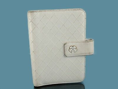 Auth CHANEL CC Floral Logo Ivory White Calf Skin Leather Bifold Agenda Wallet