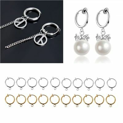 10Pcs DIY Clip On Earring Converters Non-pierced Ear Round Hoops Jewelry Finding