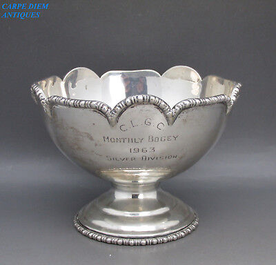 VINTAGE GOOD CONTINENTAL SOLID STERLING SILVER TROPHY BOWL, 166g, c1960