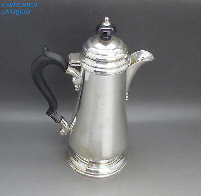 COLONIAL NICE HEAVY SOLID STERLING SILVER HOT WATER JUG 460g H&CO CALCUTTA c1935