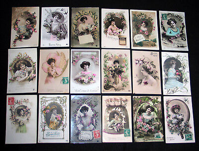 Lot A27 : 18 Cpa Portrait Femme Miss Pin-Up Lady Mode Elegance French Beauty