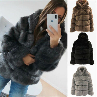 UK Women's Warm Winter Faux Rabbit Fur Jacket Hooded Coat Ladies Trench Overwear