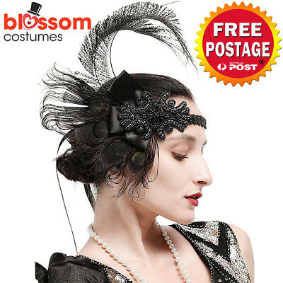 K729 Black Peacock Gatsby Headpiece Flapper 1920s Costume Headband Headdress