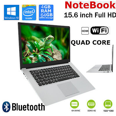 15.6'' Led Hd Pc Notebook Portatile Quad Core 4+64Gb Laptop Hdmi Per Windows 10
