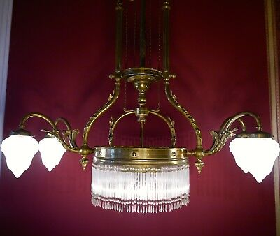 Rare Large Antique Art Nouveau Rope Chandelier Light Brass Orig Gas Lamp 1910
