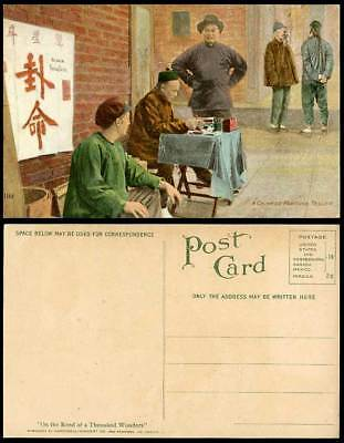 China Hong Kong c1915 Old Postcard A Roadside Chinese Fortune Teller Foy Sing Ow