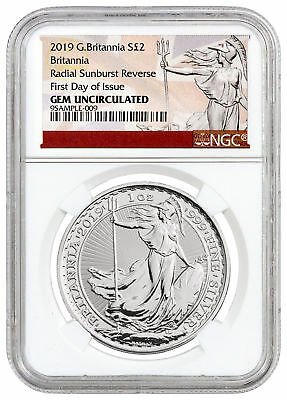 2019 Great Britain 1 oz Silver Britannia £2 Coin NGC GEM Unc FDI Excl SKU55930