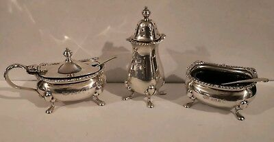Solid Hallmarked 5 piece Sterling Silver Cruet Set Salt Pepper Mustard Pot spoon