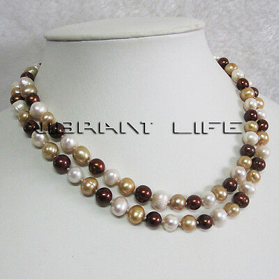 "34"" 7-9mm Multi Color Natural Freshwater Pearl Necklace M4 Strand Jewelry"