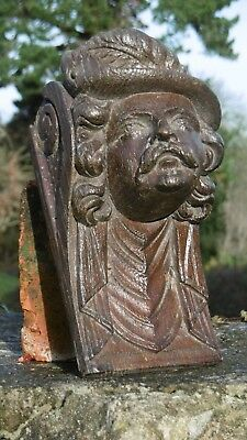 SUPERB 19thc ARCHITECTURAL BLACK FOREST OAK CARVED CORBEL OF MALE HEAD C.1870's