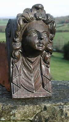 SUPERB 19thc ARCHITECTURAL BLACK FOREST OAK CARVED FEMALE HEAD CORBEL C.1870's