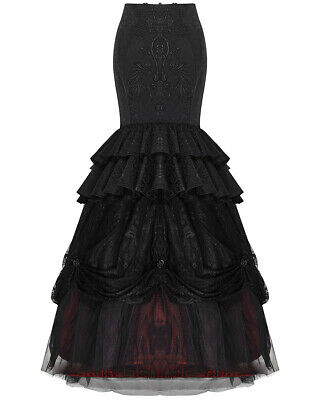Punk Rave Long Gothic Skirt Black Red Lace VTG Victorian Steampunk Wedding Prom
