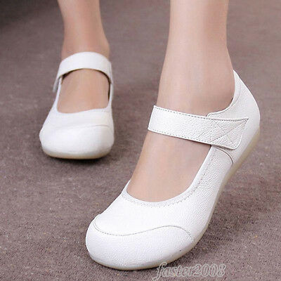 Women's Nurse Shoes Real Leather Soft Sole Flats Medical Hospital Work Shoes HOT