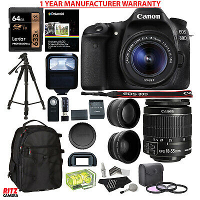 Canon EOS 80D DLSR Camera Kit EF-S 18-55mm IS STM Lens with Accessories