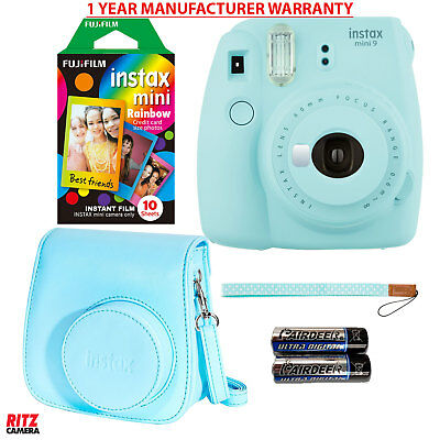 Fujifilm Instax Mini 9 Instant Camera Ice Blue, Rainbow Film, Camera Case +Strap