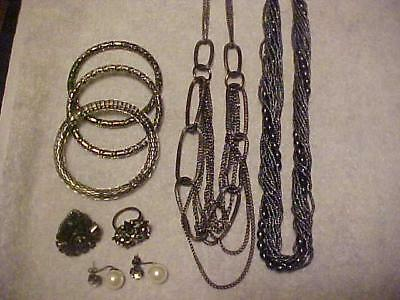 Vintage Lot JAPANNED Bracelets Rings Necklaces Earrings Costume Jewelry 8 Pieces