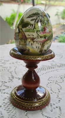 Beautiful Vintage Mole Hole Decorative Egg Cottage Scene Hand painted Stand