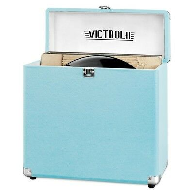 Victrola Vinyl Record Album Storage Carrying Case 30+ Vintage Turquoise