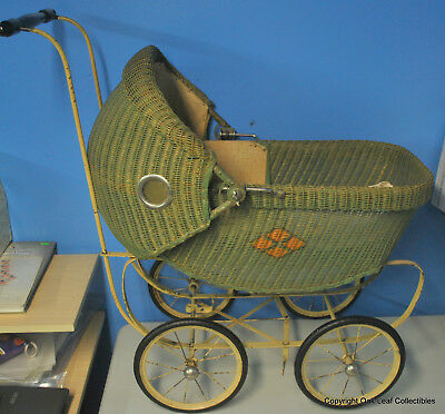 Vintage Baby Doll Carriage Stroller Buggy Cloth & Wicker. With bedding & pillow!