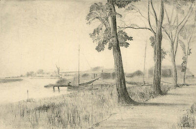 F.L Wilder - c. 1941 Etching, Estuary Landscape with Moored Boats