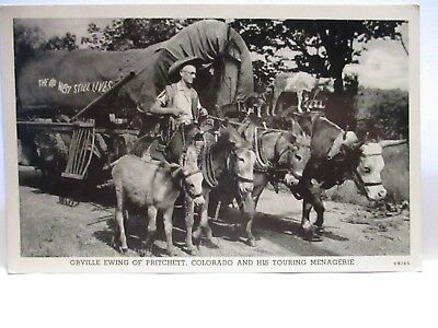 1940 Photo Postcard Orville Ewing Of Pritchett Co & His Touring Menagerie Unused