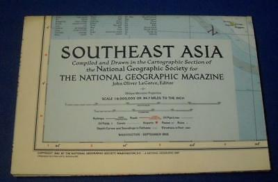 Vintage National Geographic Map Of South East Asia 1955