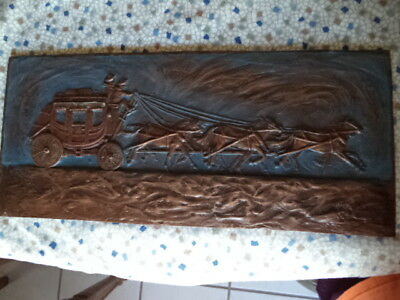 TOM KNAPP WELLS FARGO WESTERN STAGECOACH SCENE-MADE of SLATE-SIGNED!