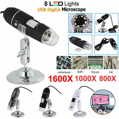 1600X 8LED Handheld USB Microscope Endoscope Zoom Biological Digital with Stand