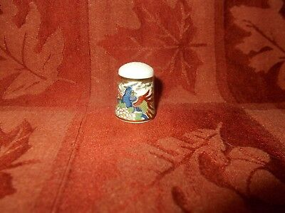 colorful bird thimble gold band to and bottom by hautoh