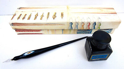 NEW Cavallini PEN & INK SET Venetian Handblown Glass Pen CALLIGRAPHY NIB