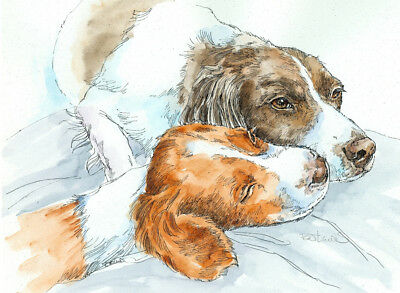 BRITTANY LOVE Original Watercolor on Ink Print Matted 11x14 Ready to Frame