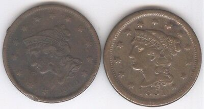 Lot of 2 - Braided Hair Large Cents + Circulated + 1840 & 1851 + No Reserve!